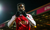 Jordy Hiwula of Fleetwood Town celebrates scoring his teams second goal during the Sky Bet League 1 match between Rochdale and Fleetwood Town at Spotland Stadium, Rochdale, England on 20 March 2018. Photo by Thomas Gadd.