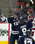 Rob O'Gara (Yale - 4), Ryan Obuchowski (Yale - 14), Carson Cooper (Yale - 9) - The visiting Yale University Bulldogs defeated the Harvard University Crimson 2-1 (EN) on Saturday, November 15, 2014, at Bright-Landry Hockey Center in Cambridge, Massachusetts.