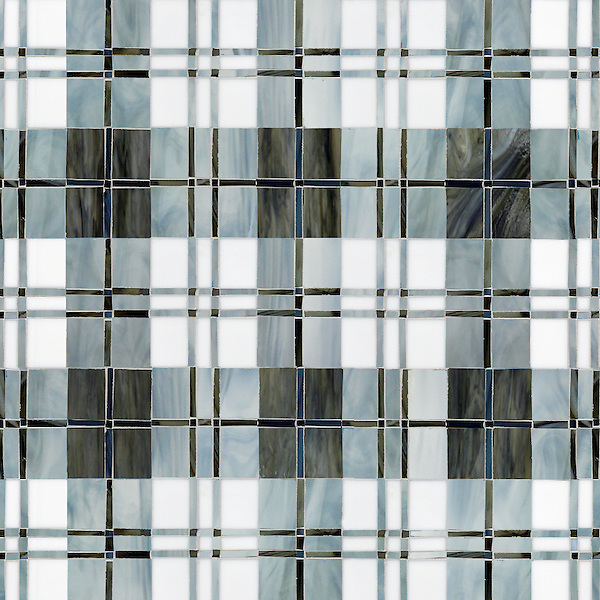 Hamish, a hand-cut jewel glass mosaic, shown in Lavastone, Pearl, Moonstone and Marcasite, is part of the Plaids and Ginghams Collection by New Ravenna Mosaics.