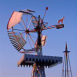 Dempster No. 3 wooden windmill on display in Shattuck, Oklahoma..No. 3 vanes windmills were manufactured between 1906 and 1917. In 1916 Dempster started building No. 4 vaneless windmills.