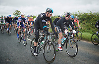 chatting along: Bradley Wiggins (GBR) &amp; Mark Cavendish (GBR)<br /> <br /> Tour of Britain<br /> stage 2: Carlisle to Kendal (187km)