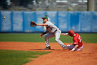 Dartmouth Big Green shortstop Nate Ostmo (5) waits for a throw as Jean-Francois Garon (37) slides in during a game against the Bradley Braves on March 21, 2019 at Chain of Lakes Stadium in Winter Haven, Florida.  Bradley defeated Dartmouth 6-3.  (Mike Janes/Four Seam Images)