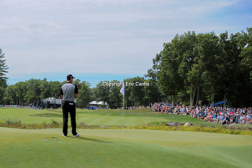 Monday, September 5, 2016:  Justin Rose of England waits to putt on the 18th green during the final round of the Deutsche Bank Championship tournament held at the Tournament Players Club, in Norton, Massachusetts.  Rory McIlroy of Northern Ireland wins the Deutsche Bank Championship with a final tournament score of -15 269.   Eric Canha/Cal Sport Media