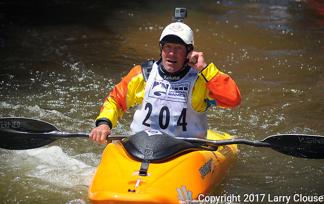 June 9, 2017 - Vail, Colorado, U.S. - Fifty-three year old multiple World Champion and current USA Freestyle team member, Erik Jackson, in the Freestyle Kayak competition during the GoPro Mountain Games, Vail, Colorado.  Adventure athletes from around the world meet in Vail, Colorado, June 8-11, for America's largest celebration of mountain sports, music, and lifestyle.