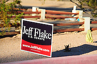 Apache Junction, Arizona. October 19, 2012 - A Jeff Flake campaign sign posted at the entrance of the Mountain View Lutheran Church in Apache Junction, Arizona. Flake and retiring Senator Jon Kyl spoke at a Town Hall to about 100 citizens. Congressman Flake seeks to be elected to replace Kyl. Photo by Eduardo Barraza © 2012