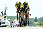 Mitchelton-Scott in action during Stage 3 of the 2018 Criterium du Dauphine 2018 a Team Time Trial running 35km from Pont de Vaux to Louhans Chateaurenaud, France. 6th June 2018.<br /> Picture: ASO/Alex Broadway | Cyclefile<br /> <br /> <br /> All photos usage must carry mandatory copyright credit (&copy; Cyclefile | ASO/Alex Broadway)