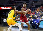 SIOUX FALLS, SD - MARCH 7: JaVonni Bickham #42 of the Denver Pioneers looks to pass the ball past Vinnie Shahid #0 of the North Dakota State Bison at the 2020 Summit League Basketball Championship in Sioux Falls, SD. (Photo by Richard Carlson/Inertia)