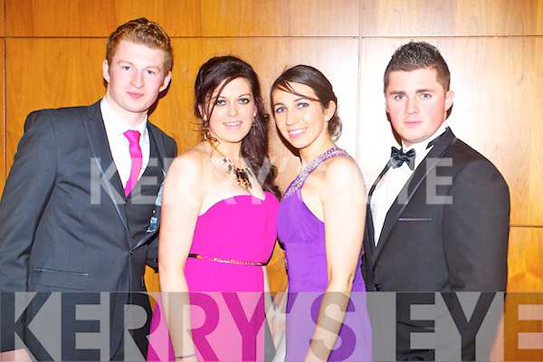 Dermot O'Callaghan, Amy Barron, Siobhan Goodwin and Eoin Greaney, enjoying Meanscoil Nua an Leith Triuigh Castlegregory School debs, held at the Manor West Hotel on Friday night.