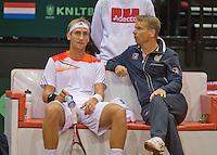 15-sept.-2013,Netherlands, Groningen,  Martini Plaza, Tennis, DavisCup Netherlands-Austria, Thiemo de Bakker (NED)  on the bench with captain Jan Siemerink<br /> Photo: Henk Koster