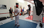 VIERA, FL-  FEBRUARY 24:  Behind the scenes of Gio Gonzalez during the Washington Nationals Spring Training at Space Coast Stadium in Viera, FL (Photo by Donald Miralle) *** Local Caption ***