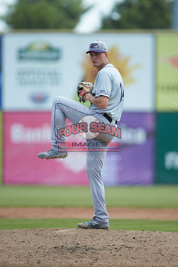 Winston-Salem Dash starting pitcher Kade McClure (24) in action against the San Bernardos de Salem at Haley Toyota Field on June 30, 2019 in Salem, Virginia. The Dash defeated the San Bernardos 3-2. (Brian Westerholt/Four Seam Images)