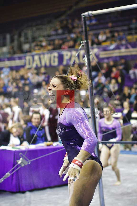 Lauren Rogers..----Washington Huskies gymnastics tri-meet vs Louisiana State University and Seattle Pacific University at Alaska Airlines Arena at Hec Edmundson Pavilion in Seattle on Friday, February 17, 2012. (Photo by Dan DeLong/Red Box Pictures)