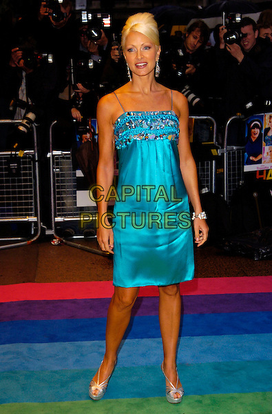"CAPRICE BOURRET.""Hairspray"" UK film premiere at the Odeon West End, London, England..July 5th, 2007.full length blue turquoise satin dress jewel encrusted hair beehive silver shoes .CAP/CAN.©Can Nguyen/Capital Pictures"