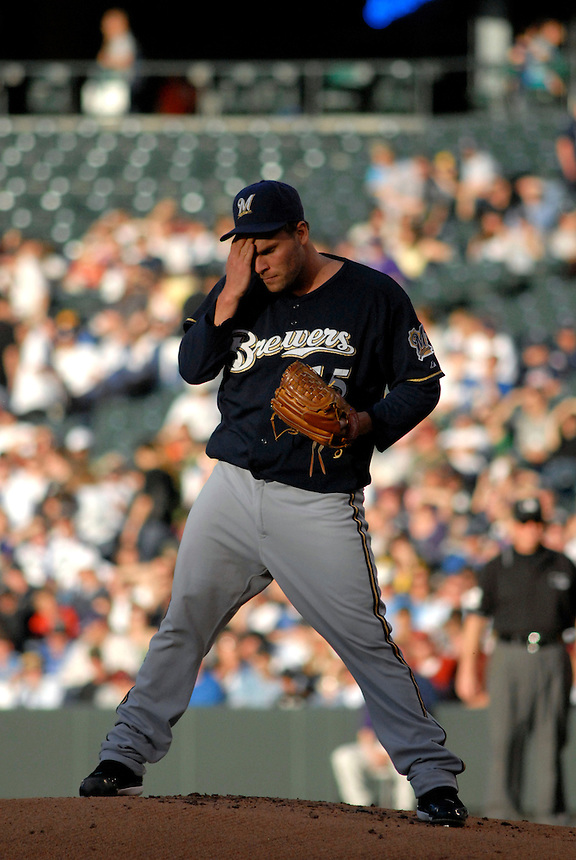 06 June 08: Milwuakee Brewers pitcher Ben Sheets wipes his brow during a game against the Colorado Rockies. The Rockies defeated the Brewers 6-4 at Coors Field in Denver, Colorado on June 6, 2008. For EDITORIAL use only