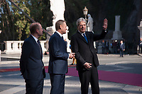 Rome, Italy, March 25,2017. From left, Malta's Prime Minister Joseph Muscat, European Council President Donald Tusk and Italian Prime Minister Paolo Gentiloni during arrivals for an EU summit at the Palazzo dei Conservatori in Rome. EU leaders gather in Rome on Saturday to celebrate the 60th anniversary of the EU's founding treaty.