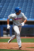 Midland RockHounds outfielder Matt Olson (21) runs to first during a game against the Tulsa Drillers on June 3, 2015 at Oneok Field in Tulsa, Oklahoma.  Midland defeated Tulsa 5-3.  (Mike Janes/Four Seam Images)