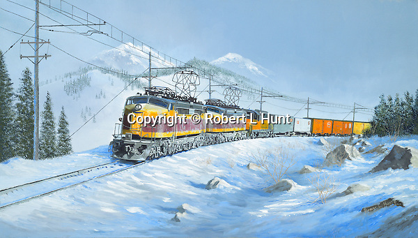"Milwaukee Road ""Little Joe"" tunnel motor electric locomotives pulling hard while cresting a ridge high in the Rocky Mountain winter snow. Oil on canvas, 16"" x 28""."