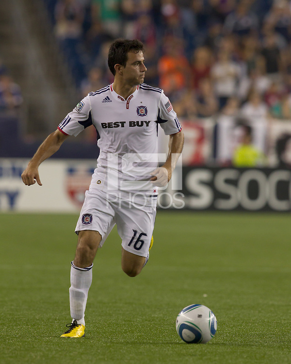 Goal scorer Chicago Fire midfielder Marco Pappa (16) check his options. The Chicago Fire defeated the New England Revolution, 1-0, at Gillette Stadium on June 27, 2010.