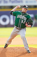 Manhattan Jaspers starting pitcher John Soldinger #12 in action against the High Point Panthers at Willard Stadium on March 9, 2012 in High Point, North Carolina.  The Panthers defeated the Jaspers 11-6.  (Brian Westerholt/Four Seam Images)