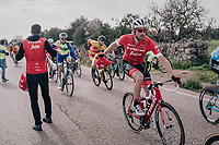 Gregory Rast (SUI/Trek-Segafredo) catching a feedbag/musette<br /> <br /> 27th Challenge Ciclista Mallorca 2018<br /> Trofeo Campos-Porreres-Felanitx-Ses Salines: 176km