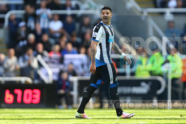 Aleksandar Mitrovic of Newcastle United is vocal following his red card during the Barclays Premier League match at St James' Park. Photo credit should read: Philip Oldham/Sportimage
