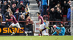 Robbie Muirhead celebrates his goal for Hearts