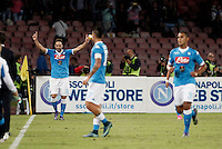 Calcio, Serie A: Napoli vs Juventus. Napoli, stadio San Paolo, 26 settembre 2015. <br /> Napoli's Gonzalo Higuain, left, celebrates after scoring during the Italian Serie A football match between Napoli and Juventus at Naple's San Paolo stadium, 26 September 2015.<br /> UPDATE IMAGES PRESS/Isabella Bonotto