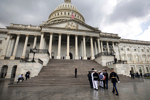 Joint service members of a military casket team carry the casket of Senator John McCain into the US Capitol, where he will lie in state for the rest of the day in Washington, DC, USA, 31 August 2018. McCain died 25 August, 2018 from brain cancer at his ranch in Sedona, Arizona, USA. He was a veteran of the Vietnam War, served two terms in the US House of Representatives, and was elected to five terms in the US Senate. McCain also ran for president twice, and was the Republican nominee in 2008.