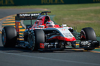 March 14, 2014: Jules Bianchi (FRA) from the Marussia F1 Team during practice session two at the 2014 Australian Formula One Grand Prix at Albert Park, Melbourne, Australia. Photo Sydney Low.