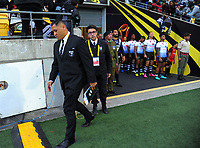 Kiwis coach David Kidwell walks to the coaches box before the 2017 Rugby League World Cup quarterfinal match between New Zealand Kiwis and Fiji at Wellington Regional Stadium in Wellington, New Zealand on Saturday, 18 November 2017. Photo: Dave Lintott / lintottphoto.co.nz
