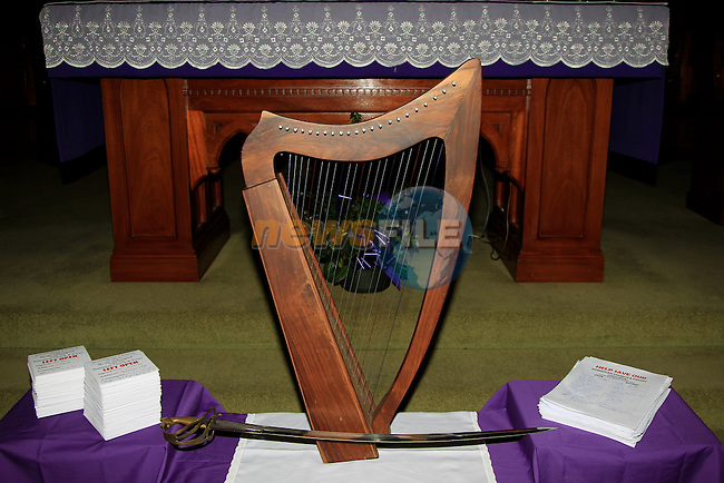 The Harp and Sword during the Vigil Mass to thank people for taking part in Save the Dominican Church at Saint Magdalene's Church, Dominick St, Drogheda, Co. Louth on Sunday 7th December 2014.<br /> Picture:  Thos Caffrey / www.newsfile.ie