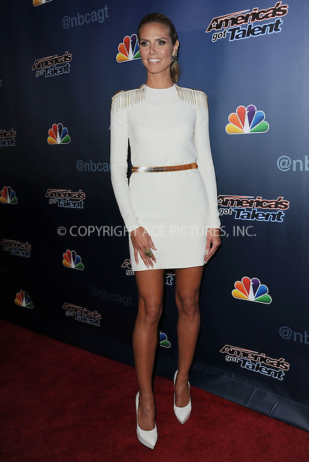 WWW.ACEPIXS.COM<br /> September 4, 2014 New York City<br /> <br /> Heidi Klum attending the 'America's Got Talent' post show red carpet at Radio City Music Hall in New York City on September 4, 2014.<br /> <br /> By Line: Kristin Callahan/ACE Pictures<br /> ACE Pictures, Inc.<br /> tel: 646 769 0430<br /> Email: info@acepixs.com<br /> www.acepixs.com<br /> Copyright:<br /> Kristin Callahan/ACE Pictures