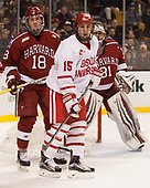 Adam Fox (Harvard - 18), Nick Roberto (BU - 15) - The Harvard University Crimson defeated the Boston University Terriers 6-3 (EN) to win the 2017 Beanpot on Monday, February 13, 2017, at TD Garden in Boston, Massachusetts.