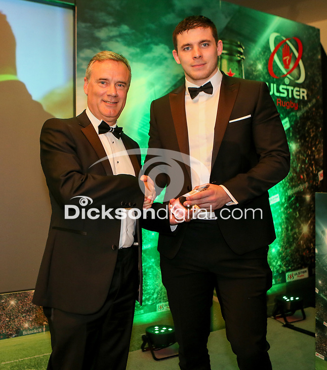 Thursday 10th May 2018 | Ulster Rugby Awards 2018<br /> <br /> Trevor Shaw, Chief Executive at Abbey Insurance presents the the Abbey Insurance Ulster Academy Player of the Year to Nick Timoney, during the 2018 Heineken Ulster Rugby Awards at La Mom Hotel, Belfast. Photo by John Dickson / DICKSONDIGITAL