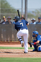 Milwaukee Brewers first baseman David Fry (7) at bat during an Instructional League game against the Los Angeles Dodgers at Maryvale Baseball Park on September 24, 2018 in Phoenix, Arizona. (Zachary Lucy/Four Seam Images)