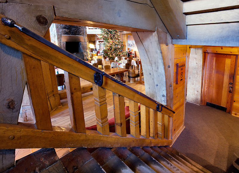 Stairway and dining area at Timberline Lodge. Oregon