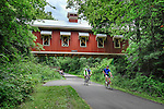Bicycling on bike path near Yellow Springs, Hyde Road covered bridge