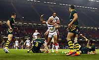 Picture by Vaughn Ridley/SWpix.com - 26/10/2013 - Rugby League - Rugby League World Cup - Australia v England - the Millennium Stadium, Cardiff, Wales - England's Ryan Hall scores the opening try and celebrates with Leroy Cudjoe. Rugby League World Cup 2013 re edited 11/10/2017 Best Of