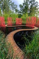 France, Chaumont-sur-Loire, Festival des Jardins 2013, jardin (permanent) chinois de Yu Kongjian dans les Prés du Goualoup, ici, le Jardin carré & rond (mention obligatoire du Festival)