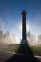 Astoria Column at Sunrise, Fog surrounding Tower, Astoria, Oregon