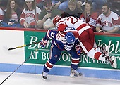 Zack Kamrass (UML - 27), Sean Escobedo (BU - 21) - The visiting University of Massachusetts Lowell River Hawks defeated the Boston University Terriers 3-0 on Friday, February 22, 2013, at Agganis Arena in Boston, Massachusetts.