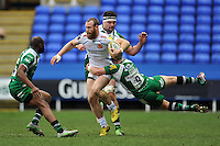 James Short of Exeter Chiefs is tackled by Scott Steele of London Irish. Aviva Premiership match, between London Irish and Exeter Chiefs on February 21, 2016 at the Madejski Stadium in Reading, England. Photo by: Patrick Khachfe / JMP