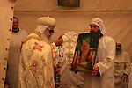 Israel, Jerusalem, Coptic Orthodox Ascension Day ceremony at the Ascension Chapel on the Mount of Olives