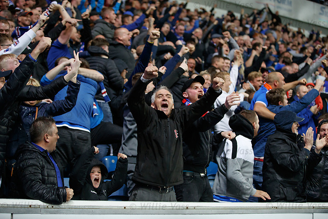29.08.2019 Rangers v Legia Warsaw: Rangers fans celebrate as Alfredo Morelos scores to win the match and send Rangers through to the group stages of Europa League