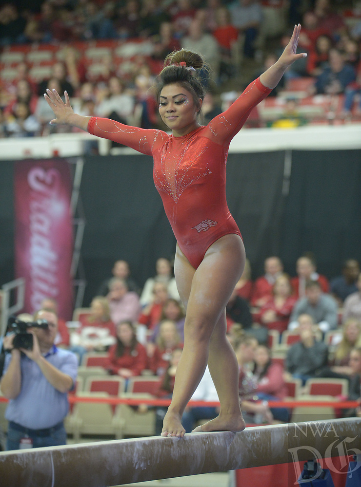 NWA Democrat-Gazette/ANDY SHUPE<br /> Arkansas' Jessica Yamzon competes in the beam Saturday, Jan. 5, 2019, during the Razorbacks' meet with No. 2 Oklahoma in Barnhill Arena in Fayetteville. Visit nwadg.com/photos to see more photographs from the meet.