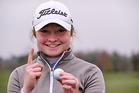 Jennifer Rankine (Scotland) after her hole in 1 on the 9th during the Irish Girls' Open Stroke Play Championship, Roganstown Golf Club, Swords, Ireland. 13/04/2018.<br /> Picture: Golffile | Fran Caffrey<br /> <br /> <br /> All photo usage must carry mandatory copyright credit (&copy; Golffile | Fran Caffrey)