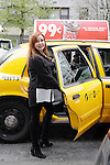"""Jacklyn Zeman """"Bobbie Spencer"""" - General Hospital helps raise money for Leukemia and Cancer Research catches a cab. (Photo by Sue Coflin/Max Photos)"""