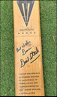 BNPS.co.uk (01202 558833)<br /> Pic JohnGoodwin/BNPS<br /> <br /> David Steele's 1975 Ashes bat that fended off Lillee and Thompson.<br /> <br /> Legendary bat maker is selling up his historic collection of willow wonders.<br /> <br /> A collection of cricket bats that were used by some of finest players of all-time have been put up for sale by the man who crafted them with his own hands.<br /> <br /> Duncan Fearnley, 79, is best known for producing bats for legendary England all-rounder Ian Botham throughout his illustrious career.<br /> <br /> He also created hand-made blades for the likes of Viv Richards, Clive Lloyd and Indian hero Sunil Gavaskar, all featuring his famous 'three stump' logo.<br /> <br /> At the end of a season the bats were often donated back to him by generous players and he has now decided to part with a number of them.