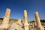 Israel, Beth Shean valley. Ruins of the Roman-Byzantine city Scythopolis, Tel Beth Shean is in the background.