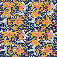 &quot;Hummingbird In Lilies&quot; is a hand illustrated scalable vector surface pattern - inspired by living coral - Pantone color of the year 2019 along with summer days lilies and hummingbirds.<br />